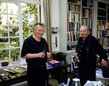 Camille Hilaire et son fils Hastaire à l'atelier de Bosc-Roger.